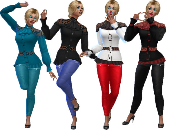 Lace top with denim pants by TrudieOpp at TSR image 8710 Sims 4 Updates