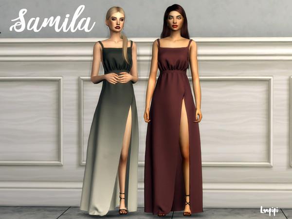 Sims 4 Samila long dress by laupipi at TSR