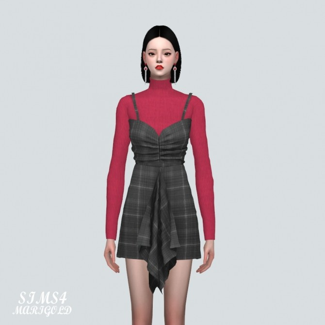 Shirring Ruffle Mini Dress With Turtle Neck at Marigold image 888 670x670 Sims 4 Updates