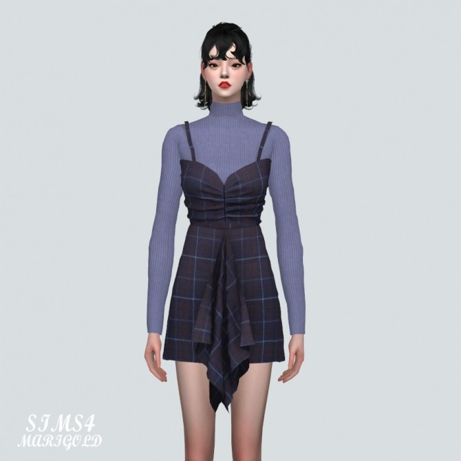 Shirring Ruffle Mini Dress With Turtle Neck at Marigold image 899 670x670 Sims 4 Updates