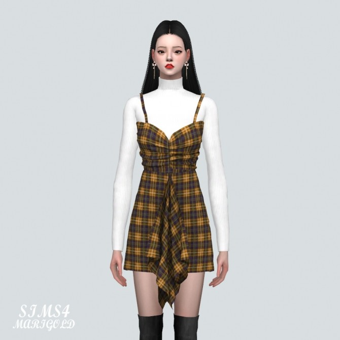 Shirring Ruffle Mini Dress With Turtle Neck at Marigold image 908 670x670 Sims 4 Updates