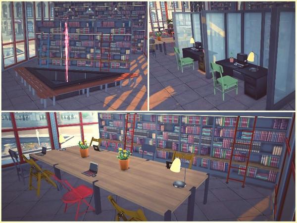 Sims 4 BRIGHT FUTURE LIBRARY by lotsbymanal at TSR
