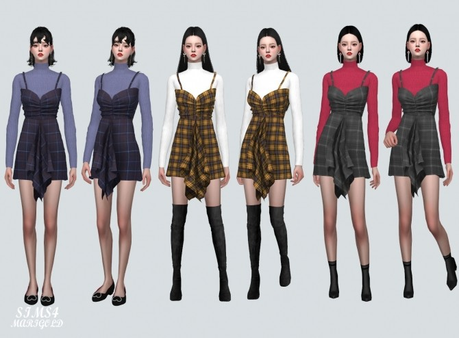 Shirring Ruffle Mini Dress With Turtle Neck at Marigold image 929 670x494 Sims 4 Updates