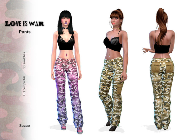 Sims 4 Love Is War Pants by Suzue at TSR