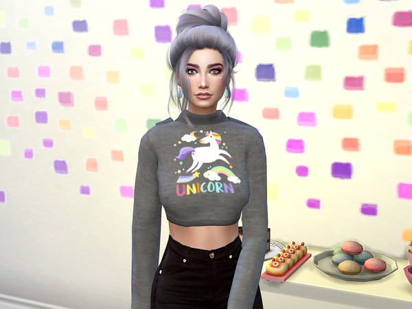 Sims 4 Unicorn Crop Top Hoodie by neinahpets at TSR