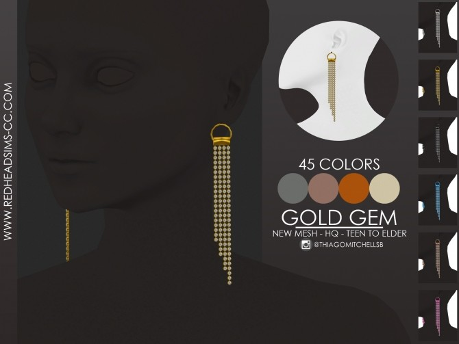 GOLD GEM earrings by Thiago Mitchell at REDHEADSIMS image 10018 670x503 Sims 4 Updates