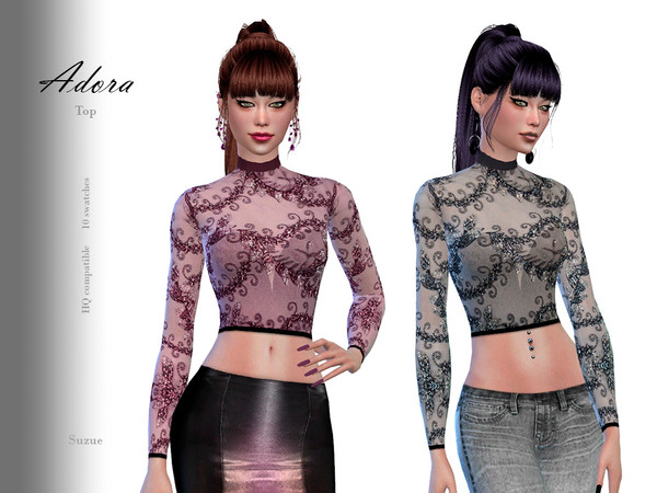 Sims 4 Adora Top by Suzue at TSR