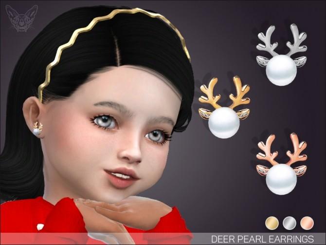 Sims 4 Pearl deer earrings for toddlers at Giulietta