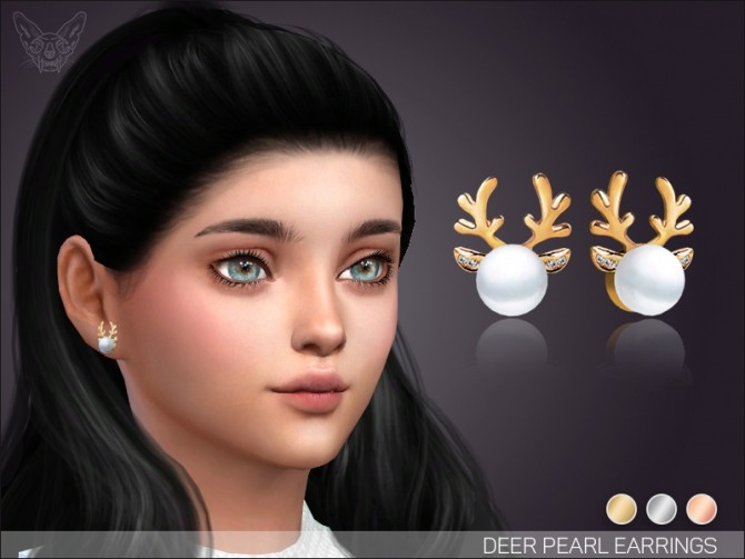 Sims 4 Pearl deer earrings for KIDS at Giulietta