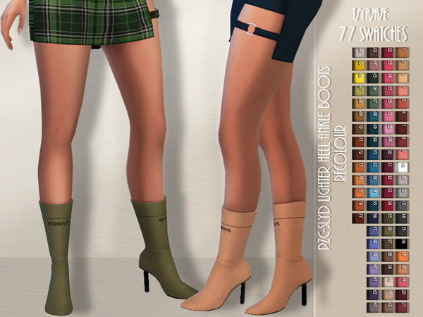 PZC SLYD Lighter Heel Ankle Boots Recolour by Pinkzombiecupcakes at TSR image 1103 Sims 4 Updates
