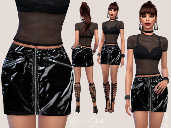 Sims 4 Black latex mini skirt with zippers by Paogae at TSR