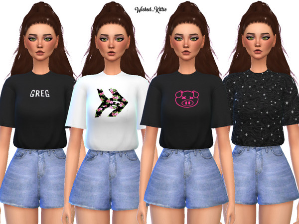 Edgy Tee Shirt Pack by Wicked Kittie at TSR image 1110 Sims 4 Updates