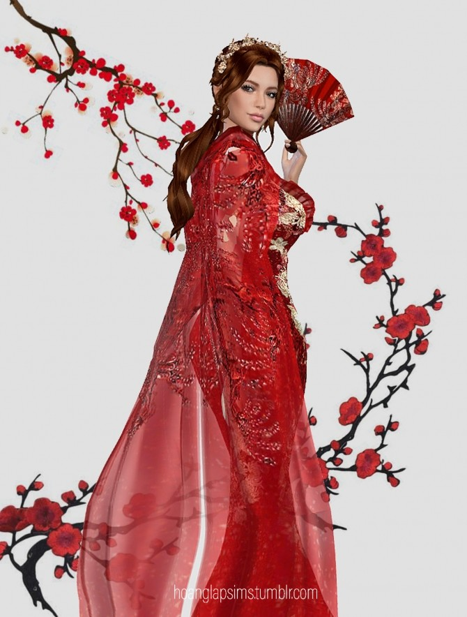 Sims 4 Spring Blossom Dress at HoangLap's Sims