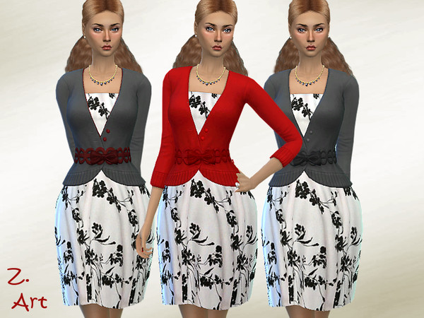 Sims 4 LadieZ 20 01 dress with a cardigan and belt by Zuckerschnute20 at TSR