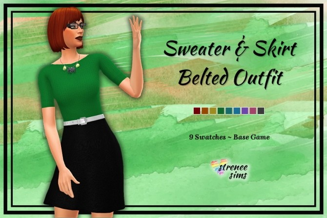 Sims 4 Sweater & Skirt Belted Outfit at Strenee Sims