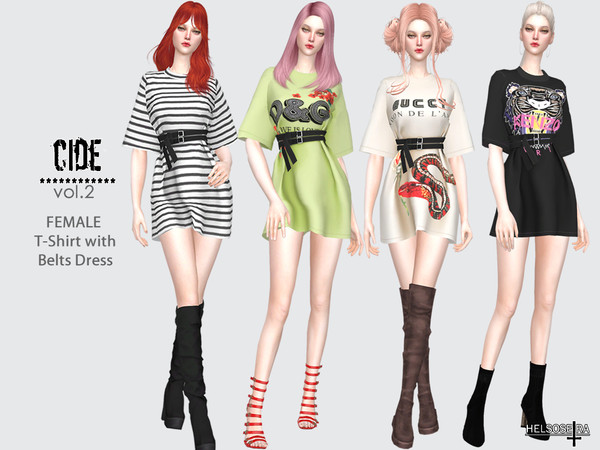 CIDE Vol.2 T Shirt Dress by Helsoseira at TSR image 11513 Sims 4 Updates