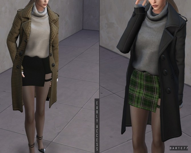 Sims 4 Long Coat with Turtleneck Sweater (P) at Darte77