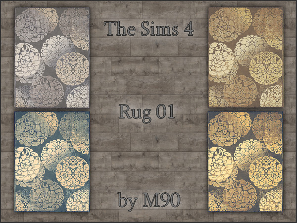 M90 Rug 01 with flower motif in 4 colors by Mircia90 at    select a Sites    image 1200 Sims 4 Updates