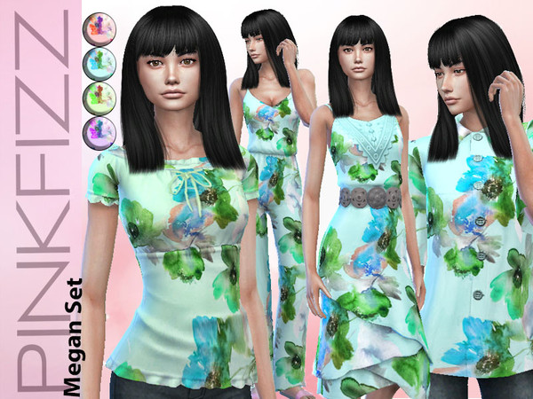 Sims 4 Megan boho chic set by Pinkfizzzzz at TSR