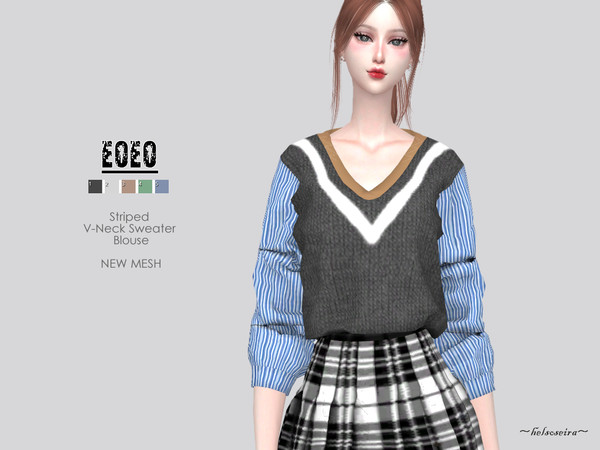 Sims 4 EOEO Sweater Blouse by Helsoseira at TSR