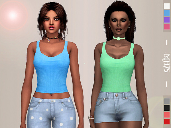 Sims 4 Ribbed vest top by Margeh 75 at    select a Sites