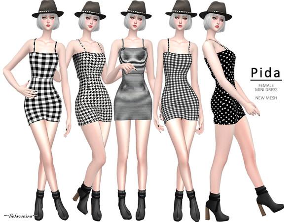 Sims 4 PIDA Gingham mini Dress by Helsoseira at TSR