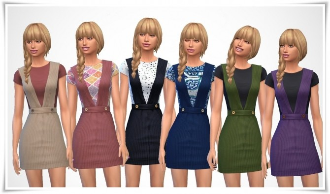 Sims 4 Pinafore & T Shirt at Birksches Sims Blog
