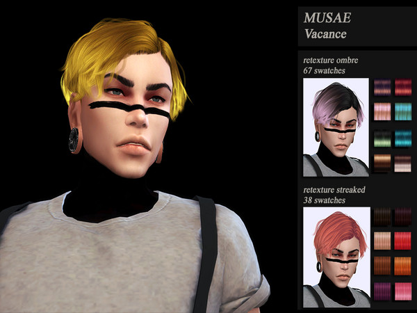 Sims 4 Male hair recolor retexture Musae Vacance by HoneysSims4 at TSR