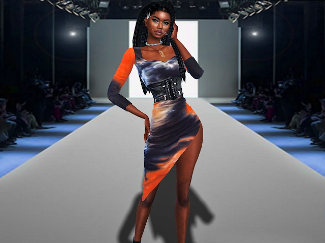Sims 4 Tie Dye T Shirt Dress, Zoey Racerback Crop Top, joggers and belt at Teenageeaglerunner
