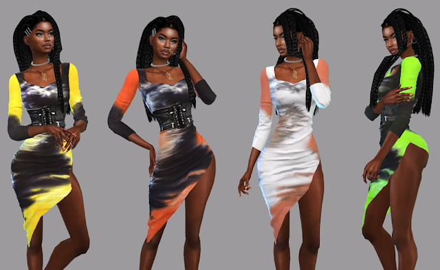 Tie Dye T Shirt Dress, Zoey Racerback Crop Top, joggers and belt at Teenageeaglerunner image 14513 Sims 4 Updates