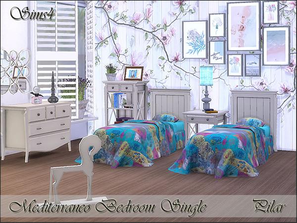 Sims 4 Mediterraneo Bedroom Single by Pilar at TSR