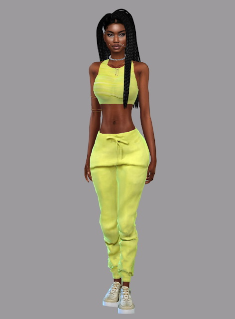 Tie Dye T Shirt Dress, Zoey Racerback Crop Top, joggers and belt at Teenageeaglerunner image 14612 Sims 4 Updates