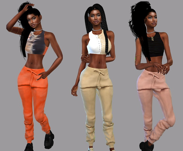 Tie Dye T Shirt Dress, Zoey Racerback Crop Top, joggers and belt at Teenageeaglerunner image 14713 Sims 4 Updates