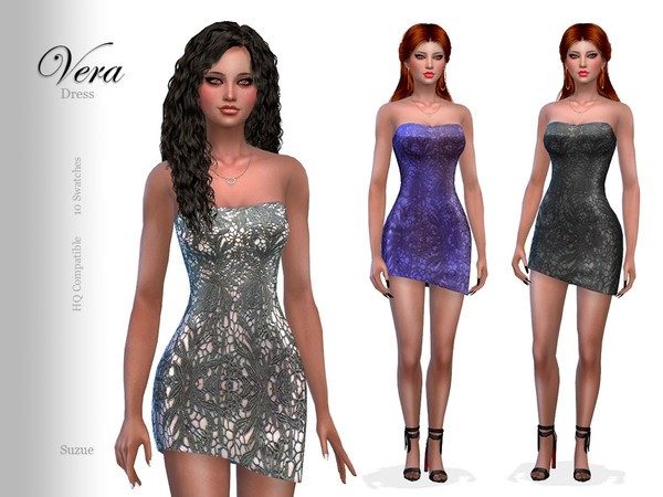 Sims 4 Vera Dress by Suzue at TSR