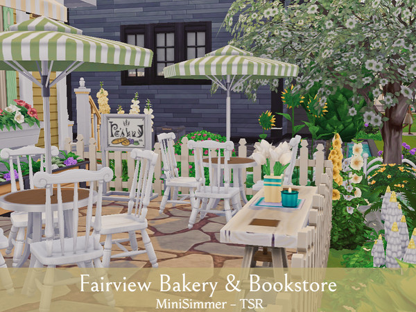 Sims 4 Fairview Bakery & Bookstore by Mini Simmer at TSR