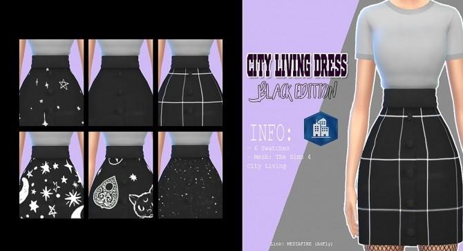 Sims 4 City Living dress black edition at Kass