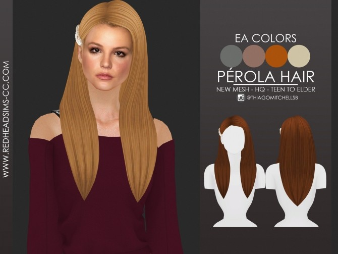 PEROLA HAIR by Thiago Mitchell at REDHEADSIMS image 1686 670x503 Sims 4 Updates