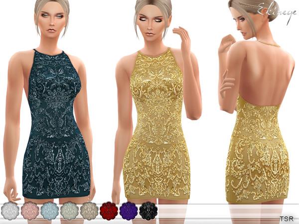 Sims 4 Halter Neck Beaded Dress by ekinege at TSR