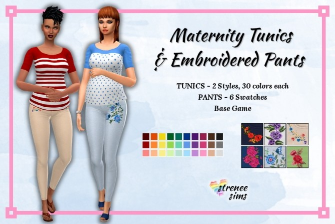 Maternity Tunics and Embroidered Pants at Strenee Sims image 17117 670x447 Sims 4 Updates