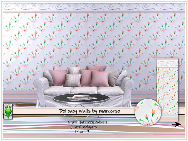 Sims 4 Delicacy Walls by marcorse at TSR