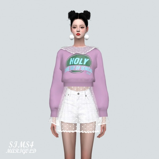 Sims 4 Dot See Through Collar Crop Sweatshirts With Skirt at Marigold