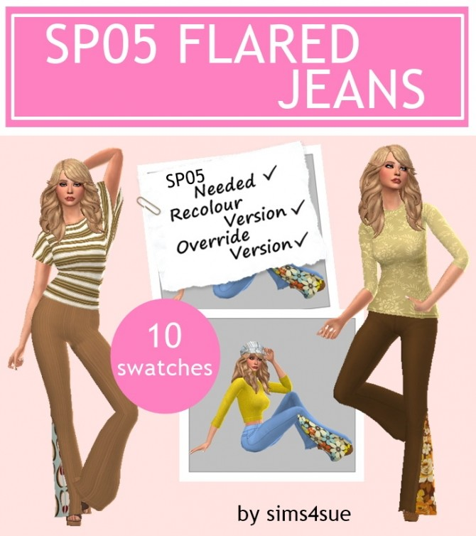Sims 4 SP05 FLARED JEANS at Sims4Sue