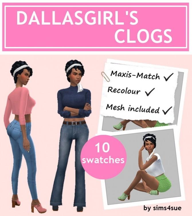 Sims 4 DALLAS GIRL'S CLOGS at Sims4Sue