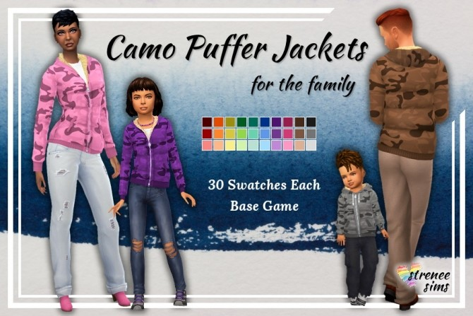 Sims 4 Camo Puffer Jackets for the Family at Strenee Sims