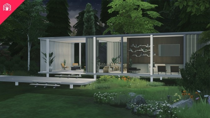 Sims 4 Farnsworth House by Mies van der Rohe at Harrie