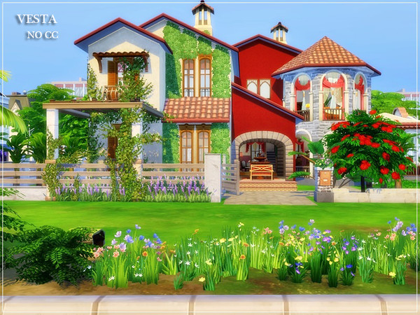 Sims 4 VESTA traditional Spanish house by marychabb at TSR
