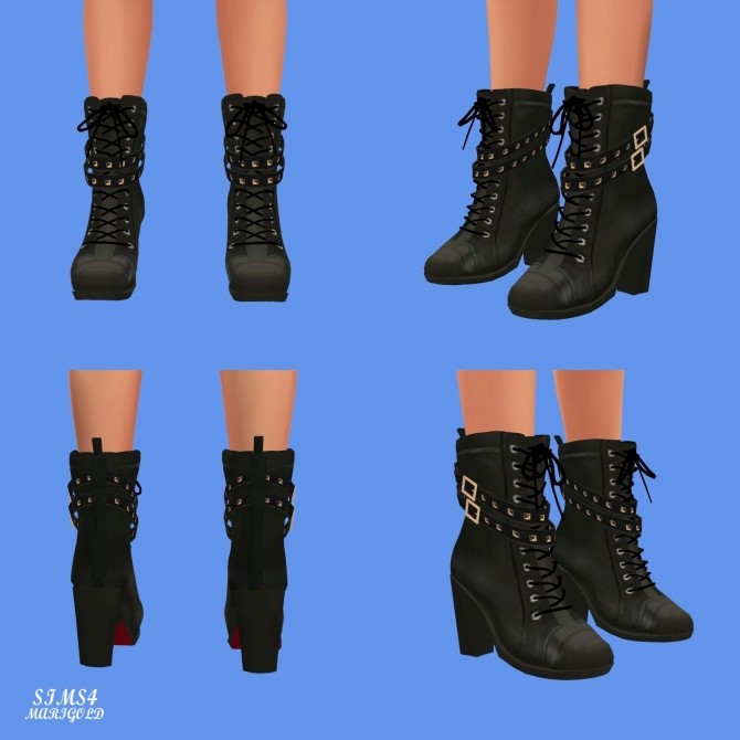 Sims 4 Stud Leather Boots at Marigold