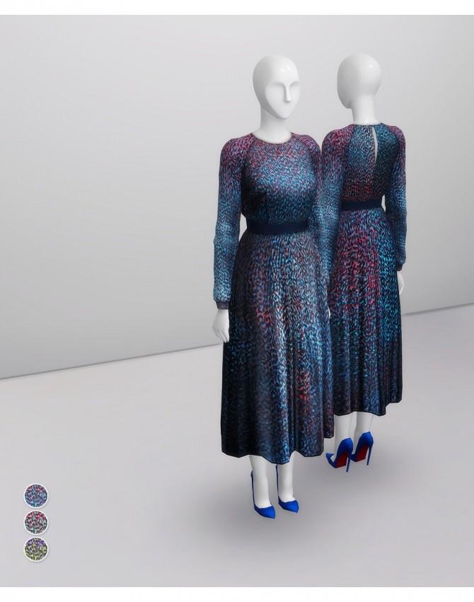 Sims 4 Printed multi azure silk dress at Rusty Nail