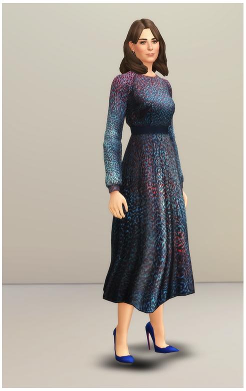 Printed Multi Azure Silk Dress At Rusty Nail 187 Sims 4 Updates
