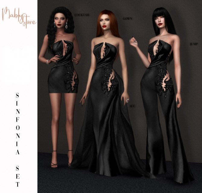 SINFONIA SET:  COCKTAIL DRESS, GOWN, JUMPSUIT & ACC at Mably Store image 1975 670x639 Sims 4 Updates